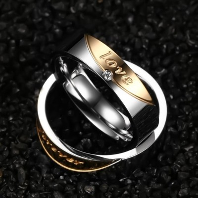 Forever Love Titanium Steel Silver Gold Promise Rings for Couples