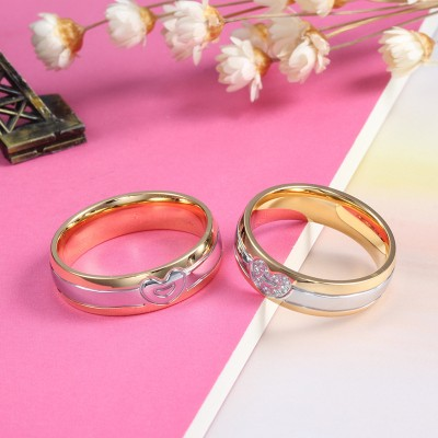 Round Cut White Sapphire Titanium Steel Gold & Silver Promise Rings for Couples