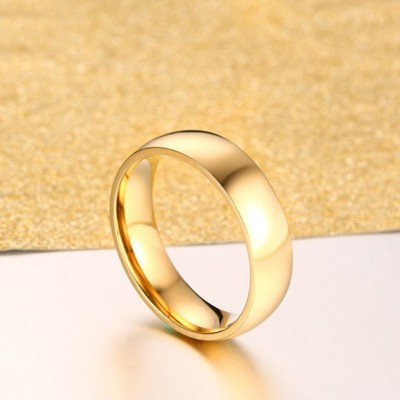 Titanium Steel Gold Promise Rings for Couples