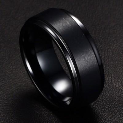Tungsten Simple Cool Black Men's Ring