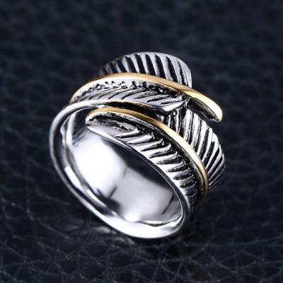 Titanium Feather Shape Silver & Gold Men's Ring