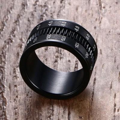 Titanium Rotatable Camera Shape Black Men's Ring