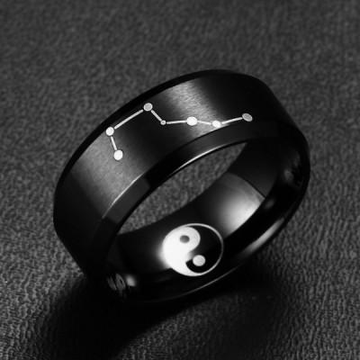 Titanium Big Dipper Yin and Yang Black Men's Ring