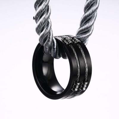 Titanium Black Steel Wire Men's Ring