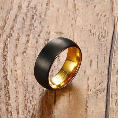 Tungsten Gold & Black Men's Ring