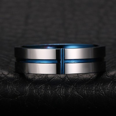 Tungsten Blue & Silver Cross Men's Ring