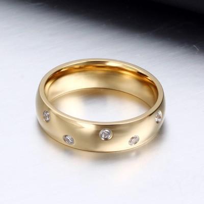 Titanium Gold Round Cut White Sapphire Men's Ring