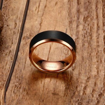 Tungsten Rose Gold & Black Men's Ring