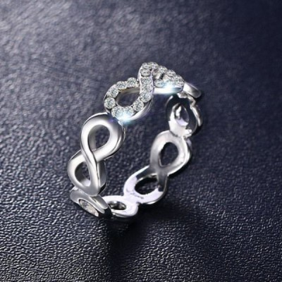 Titanium Infinity Round Cut White Sapphire Silver Promise Rings For Her