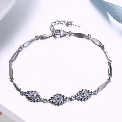 Unique Royal Blue Eyes Pendant S925 Silver Bracelets