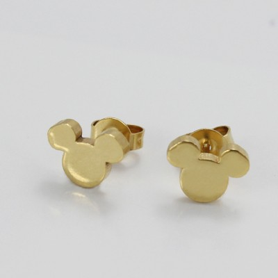 Mickey Design Gold 925 Sterling Silver Earrings