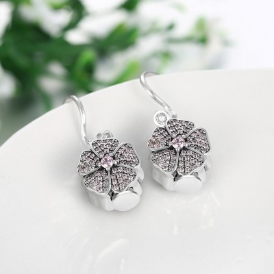 Round Cut Pink Sapphire S925 Silver Earrings