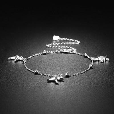 Three Starfish Silver Titanium Anklets