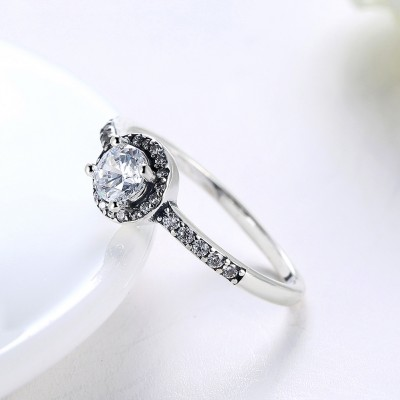 Round Cut White Sapphire S925 Silver Halo Engagement Rings