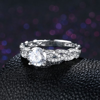 Round Cut White Sapphire S925 Silver Infinity Engagement Rings