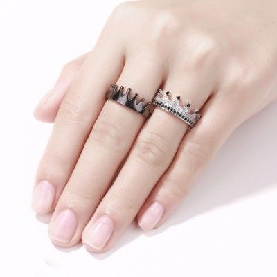 Black and Silver 925 Sterling Silver Promise Rings For Couples
