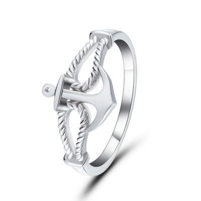 Anchor Style 925 Sterling Silver Promise Rings For Her