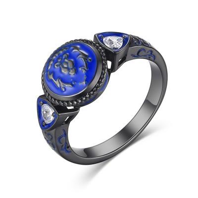 925 Sterling Silver Cute Black Men's Ring