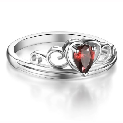 Ruby Heart Style 925 Sterling Silver Women's Ring