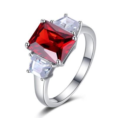 Cushion Cut Garnet 925 Sterling Silver Women's Ring