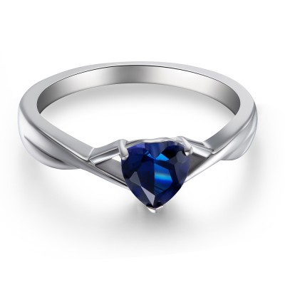 Sweet Heart Cut Sapphire 925 Sterling Silver Women's Engagement Ring