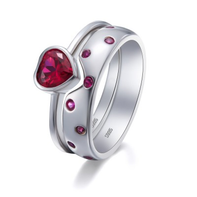 Heart Cut Ruby 925 Sterling Silver Engagement Ring