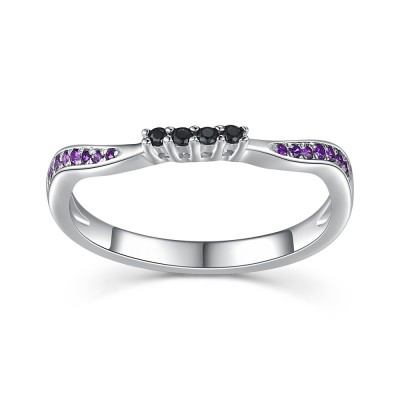 Round Cut Amethyst & Black Sapphire 925 Sterling Silver Women's Wedding Bands