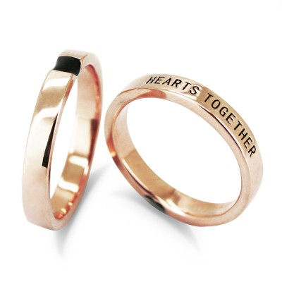 Hearts Together Rose Gold 925 Sterling Silver Matching Couple Rings