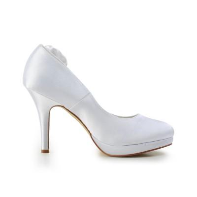 Women's Elegant Satin Stiletto Heel Pumps With Flower White Wedding Shoes
