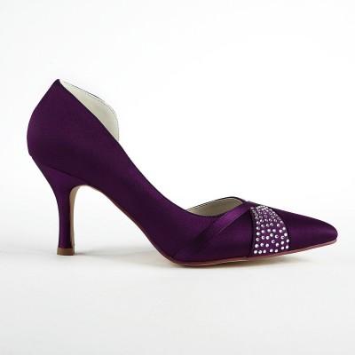 Women's Fashion Satin Stiletto Heel Pumps With Rhinestone Grape Wedding Shoes
