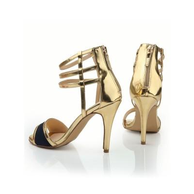 Women's Peep Toe Stiletto Heel Leather With Zipper Sandals Shoes