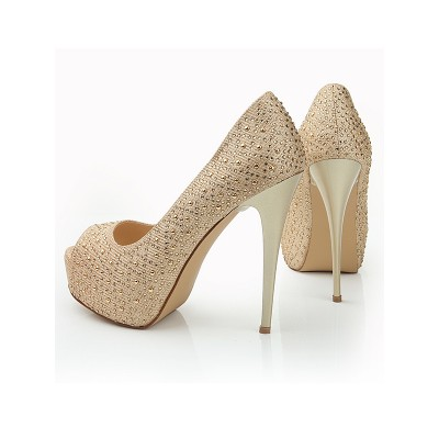 Women's Peep Toe Stiletto Heel Elastic Leather Platform With Buckle Platforms Shoes