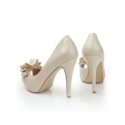 Women's Patent Leather Peep Toe Platform Stiletto Heel With Bowknot Platforms Shoes