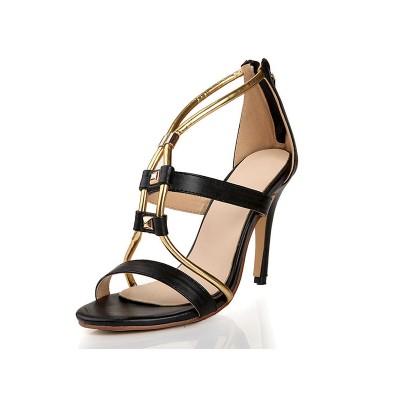 Women's Peep Toe Sheepskin Stiletto Heel With Zipper Sandals Shoes