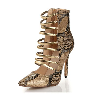 Women's Sheepskin Closed Toe Snake Print Sandals Multi Colors Boots with Lace Up