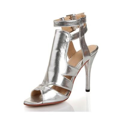 Women's Sheepskin Stiletto Heel Peep Toe With Buckle Sandals Shoes