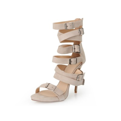 Women's Stiletto Heel Suede Peep Toe With Buckle Sandal Mid-Calf Champagne Boots