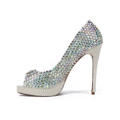 Women's Sheepskin Peep Toe with Rhinestones Stiletto Heel Platform High Heels