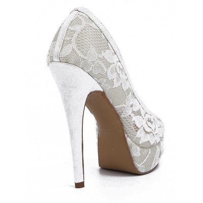 Women's Lace Stiletto Heel Closed Toe Platform High Heels