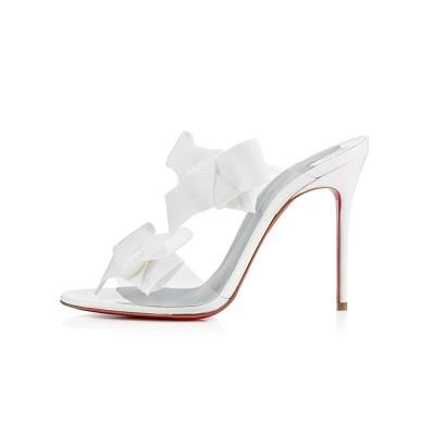 Women's Peep Toe Satin Stiletto Heel With Flower Sandals Shoes
