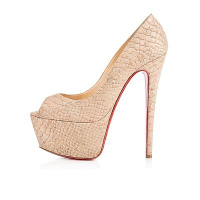 Women's PU Peep Toe Stiletto Heel Platform High Heels