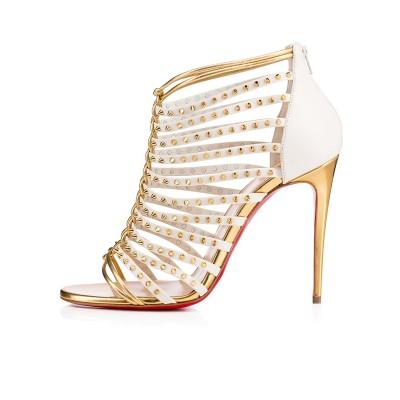 Women's Patent Leather Peep Toe Stiletto Heel Gold Sandals Shoes