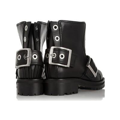 Women's Cattlehide Leather With Buckle Kitten Heel Booties/Ankle Black Boots