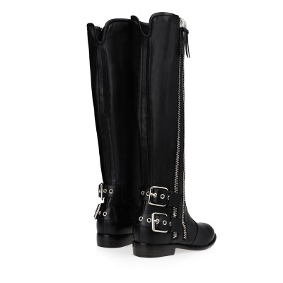Women's Kitten Heel Cattlehide Leather With Buckle Zipper Knee High Black Boots
