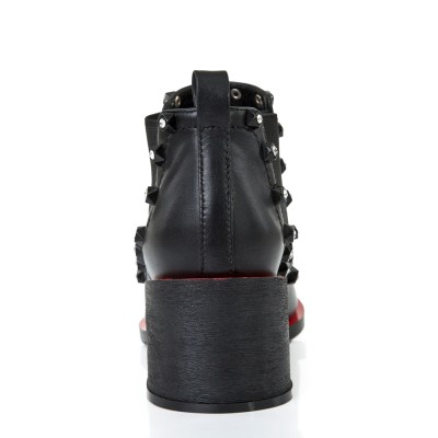 Women's Kitten Heel Closed Toe Cattlehide Leather With Rhinestone Black Booties