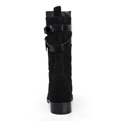Women's Suede Kitten Heel Closed Toe With Buckle Mid-Calf Black Boots