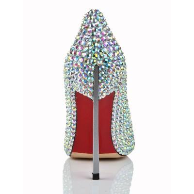 Women's Stiletto Heel Closed Toe Patent Leather With Rhinestone High Heels