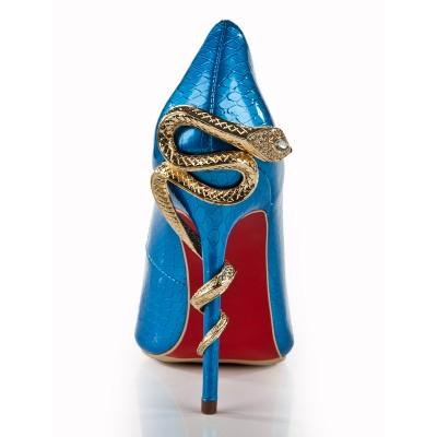 Women's Stiletto Heel Royal Blue Closed Toe With Rhinestone High Heels