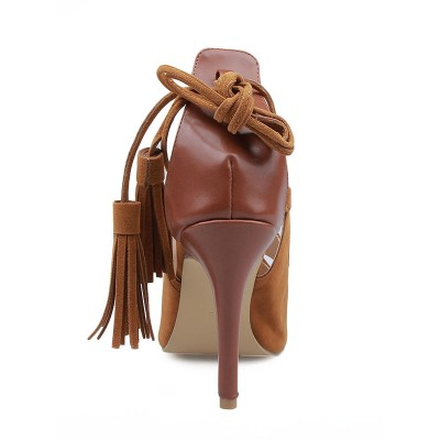 Women's Suede Stiletto Heel Peep Toe With Lace-up Sandals Shoes