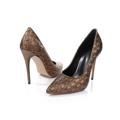 Women's Stiletto Heel Closed Toe PU With Ostrich Pattern High Heels